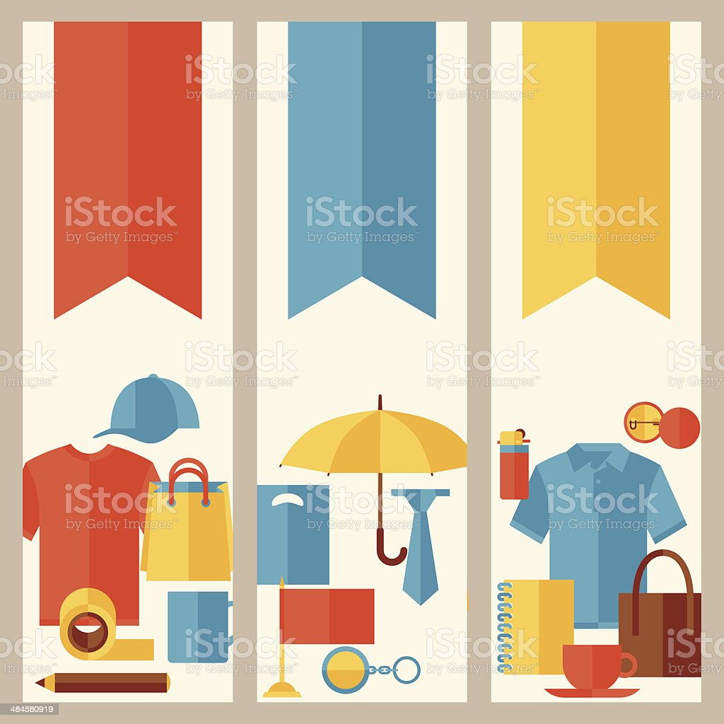 Vertical banners with promotional gifts and souvenirs. vector art illustration