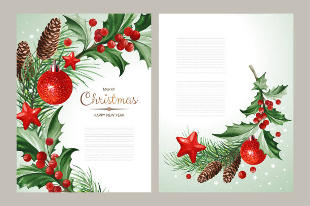Vertical banners with text and Christmas decoration - Holly leaves, balls and Christmas tree with cones on light backgrounds. vector art illustration