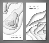 Vertical banners with 3D abstract background with paper cut shapes. Vector design layout for business presentations, flyers, posters and invitations. White paper carving art.