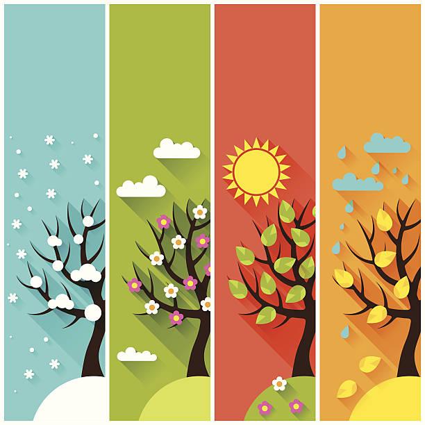 縦バナー、冬、春、夏、秋の木が生い茂ります。 - 自然のカレンダー点のイラスト素材/クリップアート素材/マンガ素材/アイコン素材