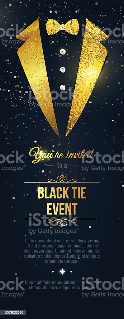 Vertical  Black Tie Event Invitation. vector art illustration