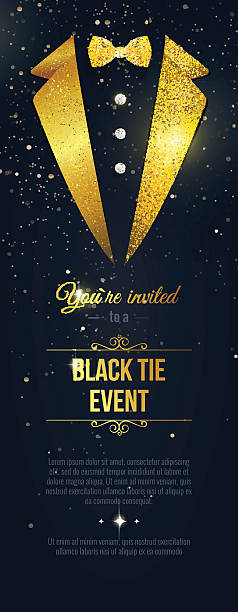 Vertical  Black Tie Event Invitation. Vertical Black Tie Event Invitation. Businessmen banner. Elegant black  card with golden sparkles.  Black banner with businessman suit. Vector illustration tuxedo stock illustrations