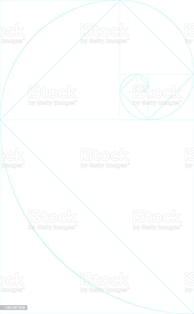 vertical blank golden ratio template with guides stock vector art