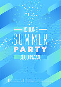 Vertical light blue dance party background with graphic elements and text. Vector illustration.