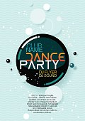Vertical blue music party background with graphic elements.
