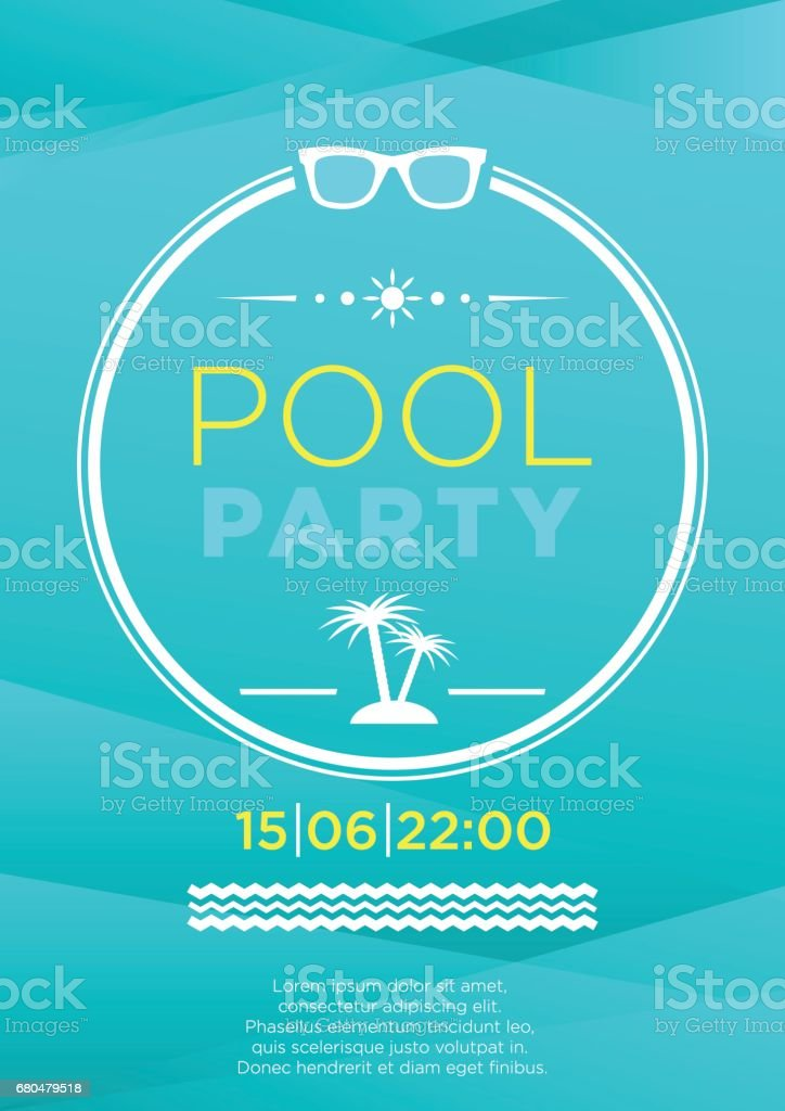 Vertical blue pool party background. vector art illustration