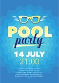 Vertical blue pool party background with graphic elements.