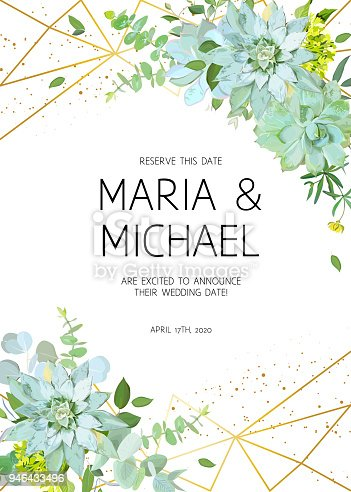 Vertical botanical vector design frame. Baby blue eucalyptus, succulents, green hydrangea, wildflowers, greenery, leaves, herbs. Natural spring wedding card. Gold line art. All elements are isolated