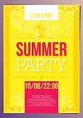 Vertical bright yellow summer party background with graphic elements.