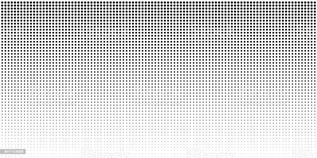 Vertical bw gradient halftone dots background, horizontal template using black halftone dots pattern. - ilustração de arte vetorial