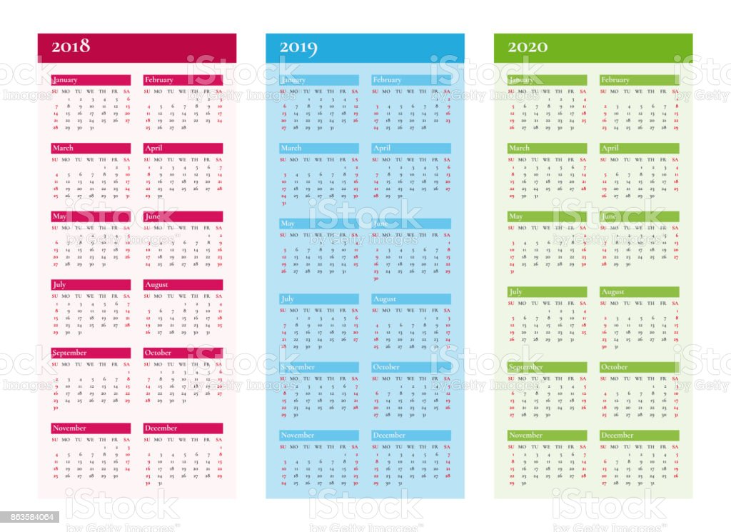 Vertical Calendar For 2018 2019 2020 Years Vector On Cmyk Stock Vector Art & More Images Of 2018
