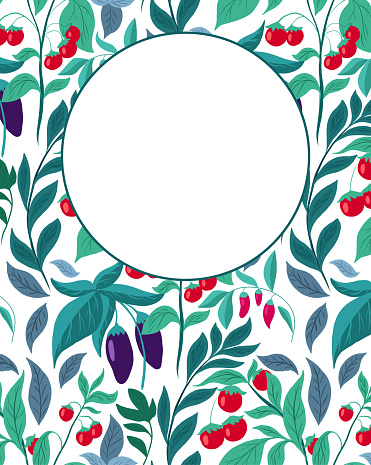 Vertical card with pattern with vegetables, foliage and place for text. Vector template with eggplants, cherry tomatoes and copy space on white background. Natural garden banner.