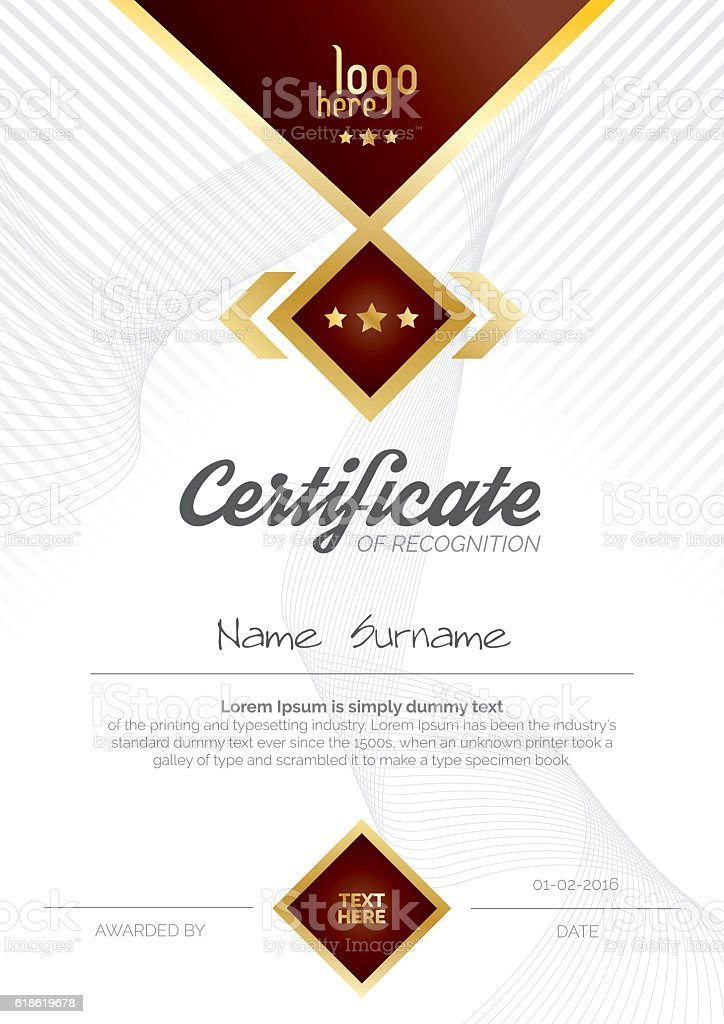 A4 Vertical Certificate Layout Design stock vector art 618619678 – Certificate Layout