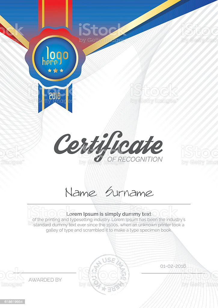 A4 Vertical Certificate Layout Design stock vector art 618619954 – Certificate Layout