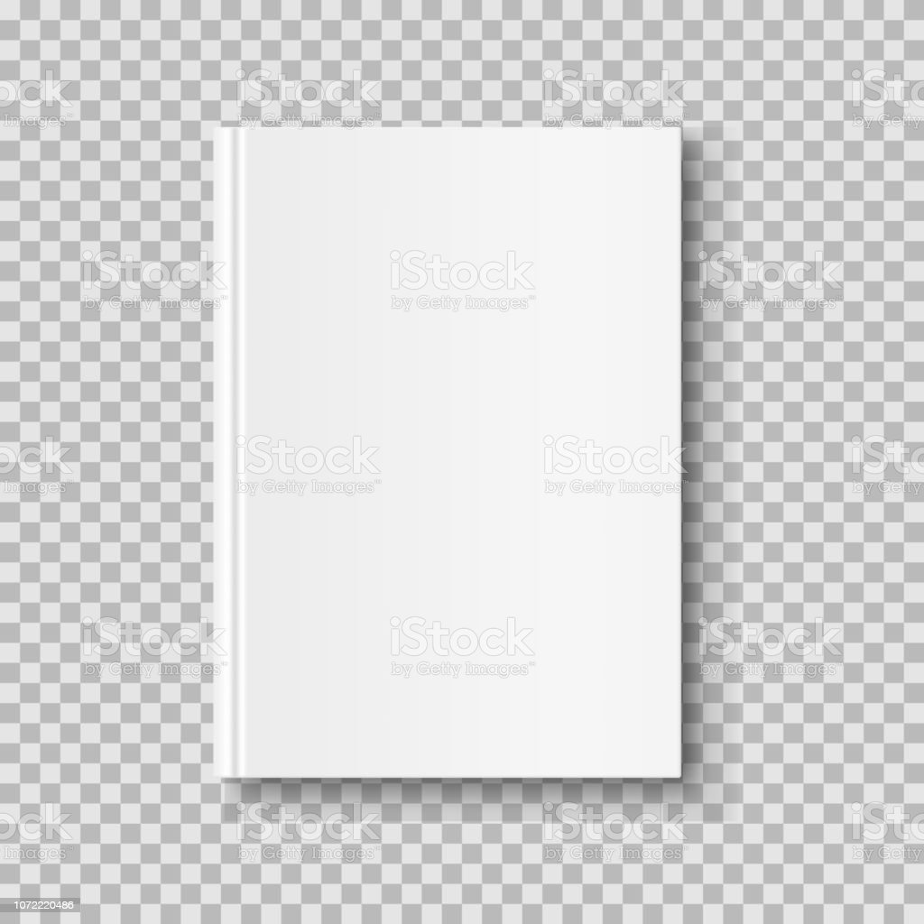 Vertical closed book mock up isolated on transparent background. White blank cover. - Royalty-free Branco arte vetorial