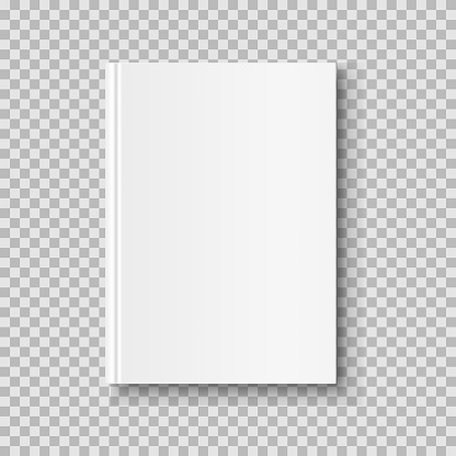 Vertical closed book mock up isolated on transparent background. White blank cover.
