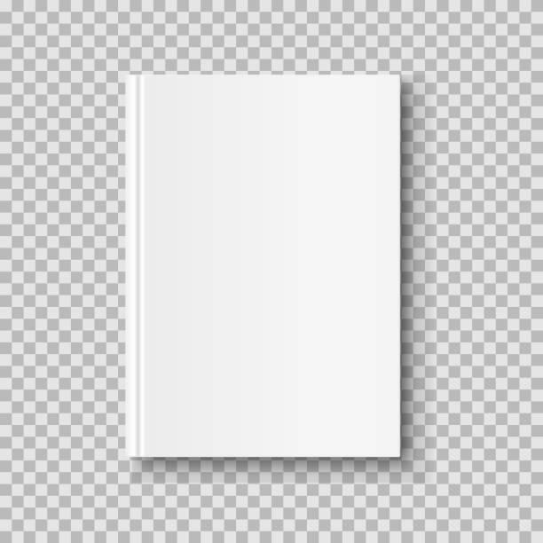 垂直の閉じた本に分離の透明な背景を模擬。白いブランク カバー。 - 空点のイラスト素材/クリップアート素材/マンガ素材/アイコン素材
