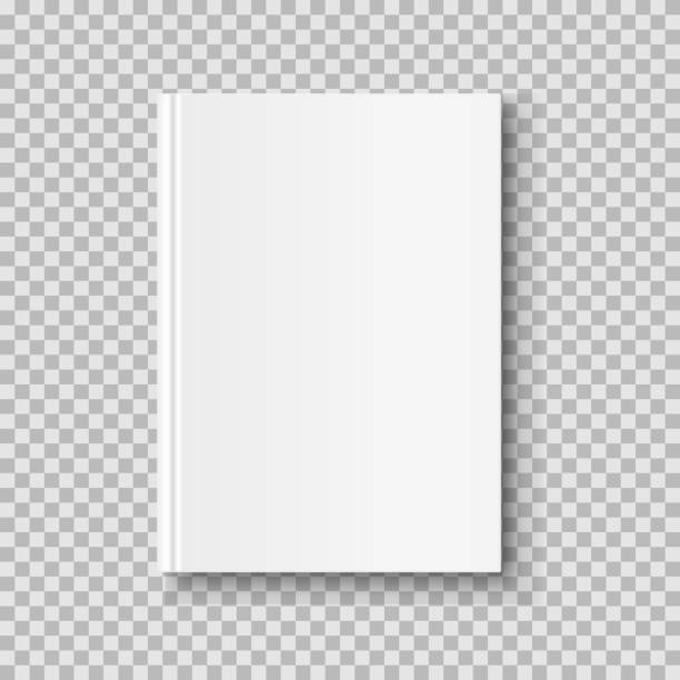 illustrazioni stock, clip art, cartoni animati e icone di tendenza di vertical closed book mock up isolated on transparent background. white blank cover. - book