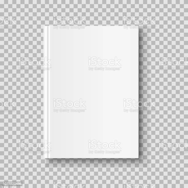 Vertical Closed Book Mock Up Isolated On Transparent Background White Blank Cover - Arte vetorial de stock e mais imagens de Branco