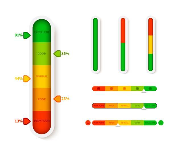 ilustrações, clipart, desenhos animados e ícones de indicador de nível de cor vertical. modelo de barra de progresso. progressão da medição do elemento do slider da ilustração do vetor - deslize