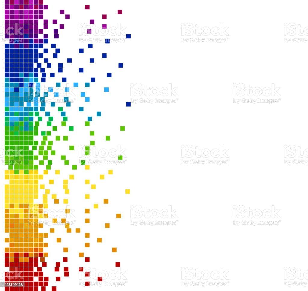 vertical colored pixel mosaic vector art illustration