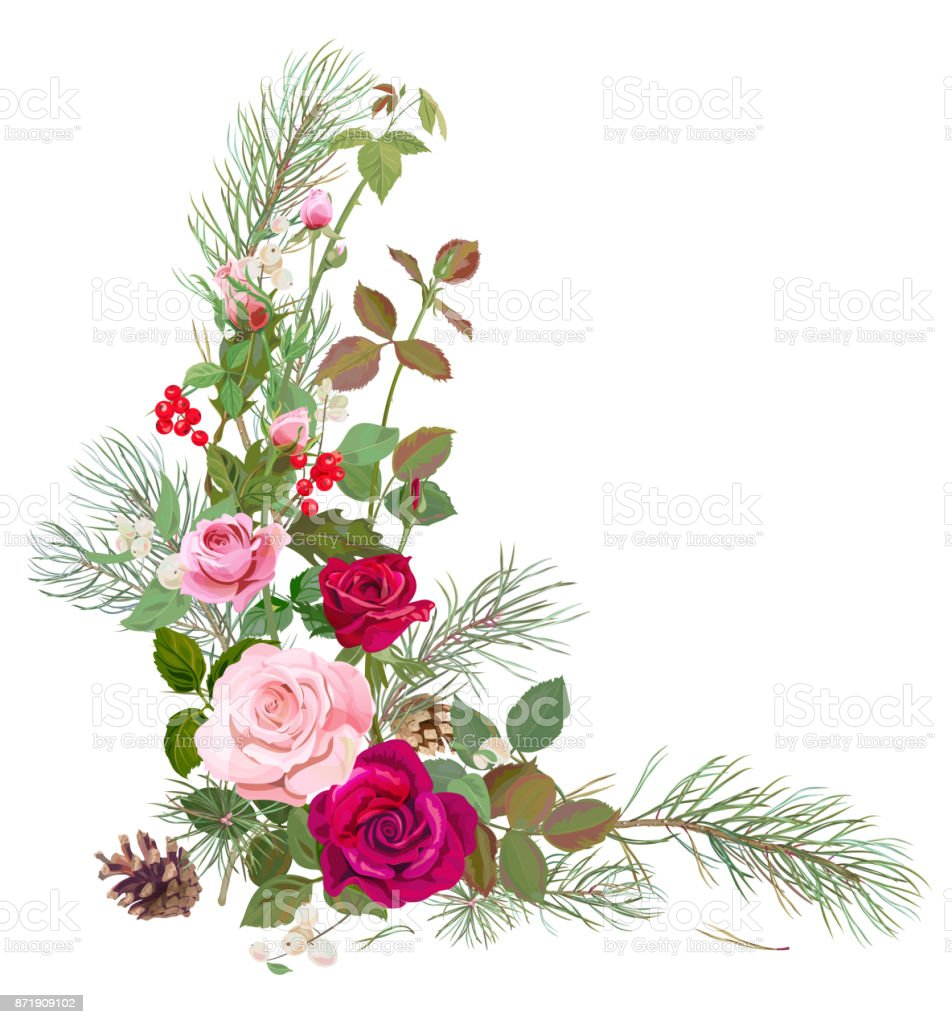 Vertical Corner Border With Red Pink Roses Pine Branches Cone Holly Berry