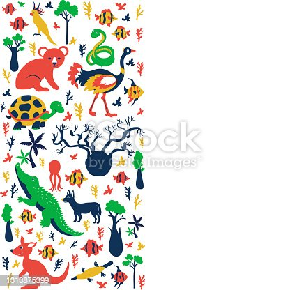 istock Vertical decorative frame with Australian wild animals and colorful tree, vector cartoon illustration, travel background with mammal, koala, kakadu, snake, kangaroo, crocodile for design template 1313875399