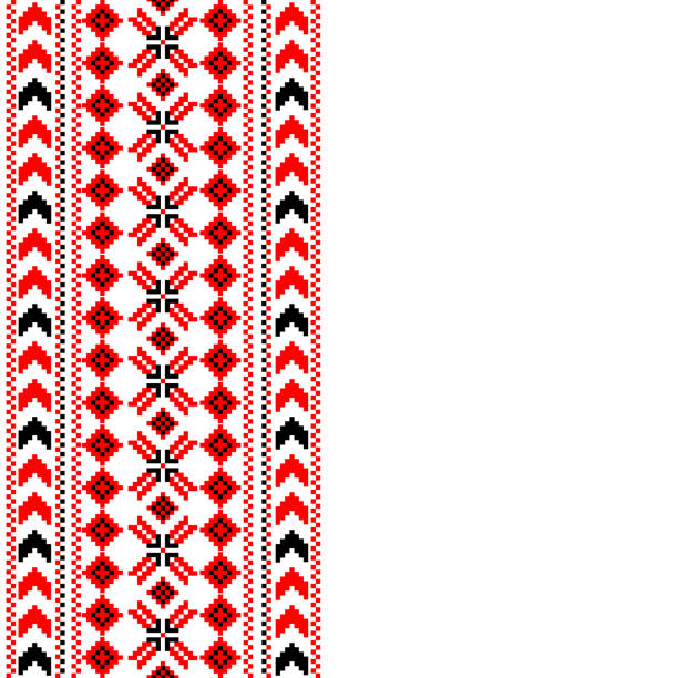 Vertical decorative ornament with traditional design Vertical decorative ornament with traditional design and place for text romania stock illustrations
