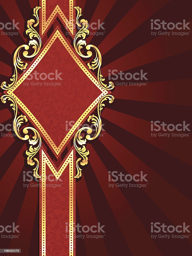 Vertical diamond shaped red banner with gold filigree royalty-free stock vector art