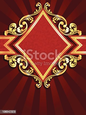 istock Vertical diamond shaped red banner with gold filigree 106542323
