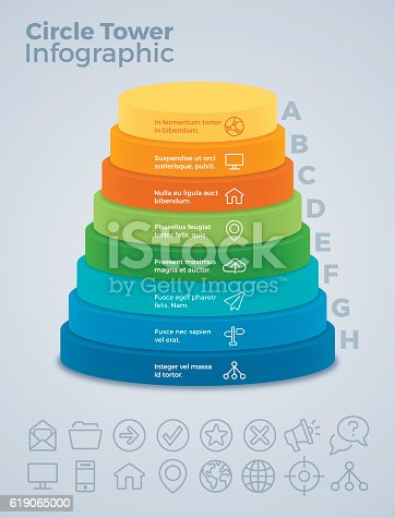 istock Vertical Eight Option Circle Tower Infographic 619065000