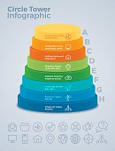 Vertical eight option circle tower infographic concept. EPS 10 file. Transparency effects used on highlight elements.