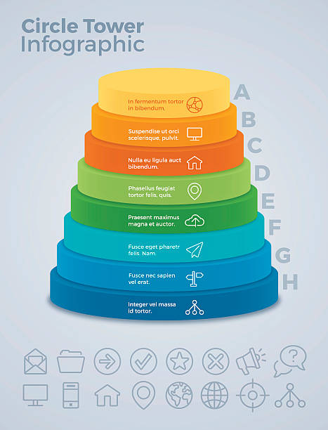 Vertical Eight Option Circle Tower Infographic vector art illustration