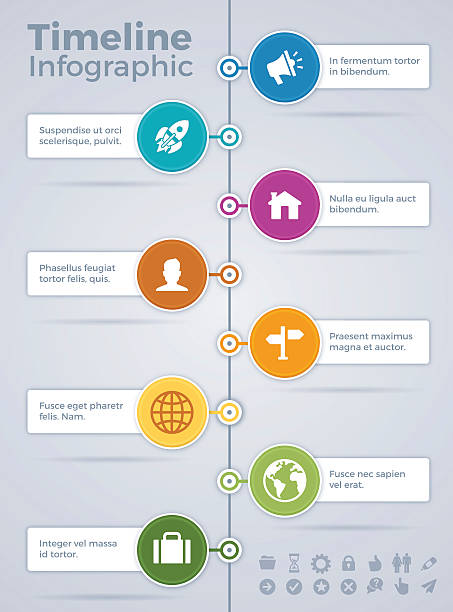 vertical eight option timeline infographic - vertical stock illustrations, clip art, cartoons, & icons