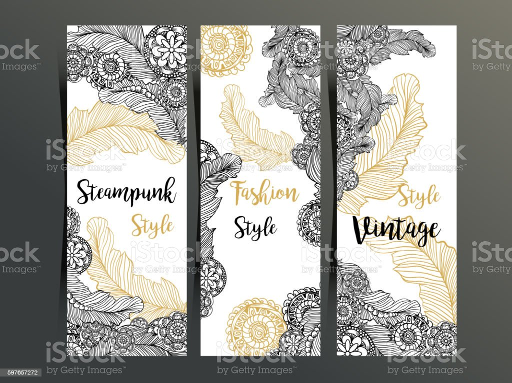 Vertical Flyers Or Three Fold Brochure Template With Steampunk Decor
