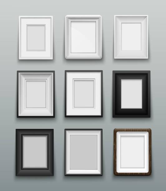illustrations, cliparts, dessins animés et icônes de cadre vertical pour photos ou peintures sur mur - galerie d'art