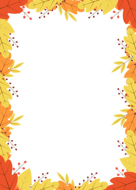 Vertical frame of colorful autumn leaves and berries. Fall theme vector illustration. Thanksgiving day greeting card or invitation.Template with copy space for your design projects. Vertical frame of colorful autumn leaves and berries. Fall theme vector illustration. Thanksgiving day greeting card or invitation. Easy to edit template with copy space for your design projects. autumn borders stock illustrations