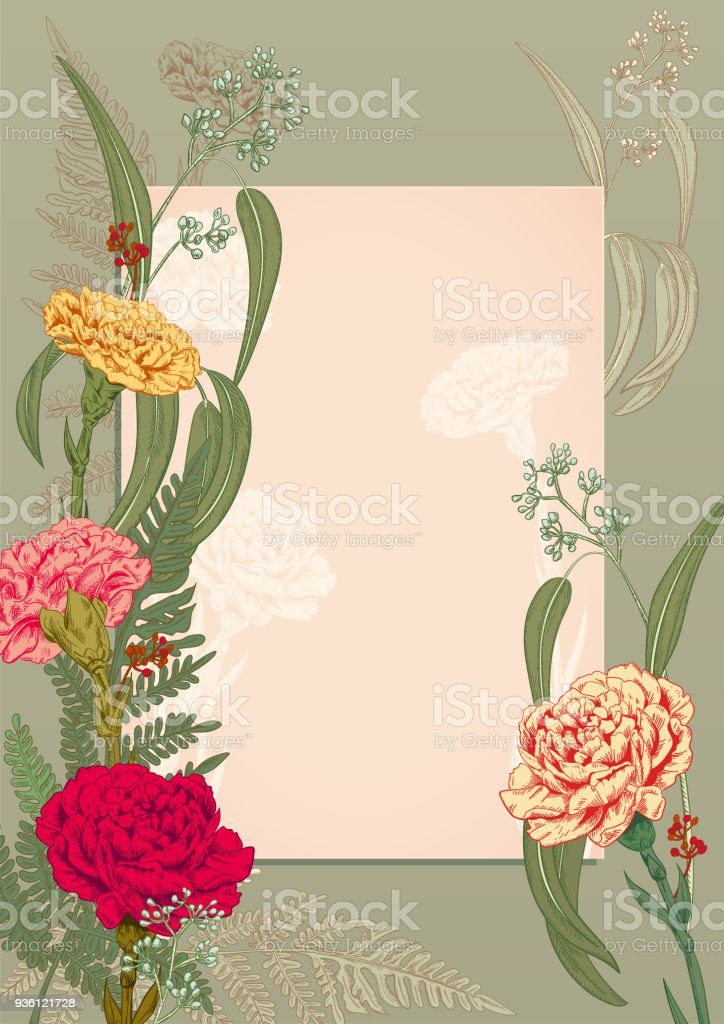 Vertical Frame Template For Invitation To Rustic Party Carnation Red ...