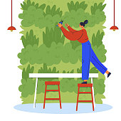 Vertical garden.Young woman in cafe care for green wall.Woman on a chair with a secateur.Environment friendly eco design of wall.A new way to decorate the interior with house greenery.Vector flat