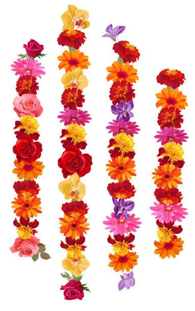 vertikale girlanden: rosen, gerberas, gänseblümchen, ringelblume (tagetes), orchideen. blumen für indische religion festliche dekoration. buddhistische traditionelle ornamentik. illustration im aquarell-stil, vektor - blumengirlanden stock-grafiken, -clipart, -cartoons und -symbole