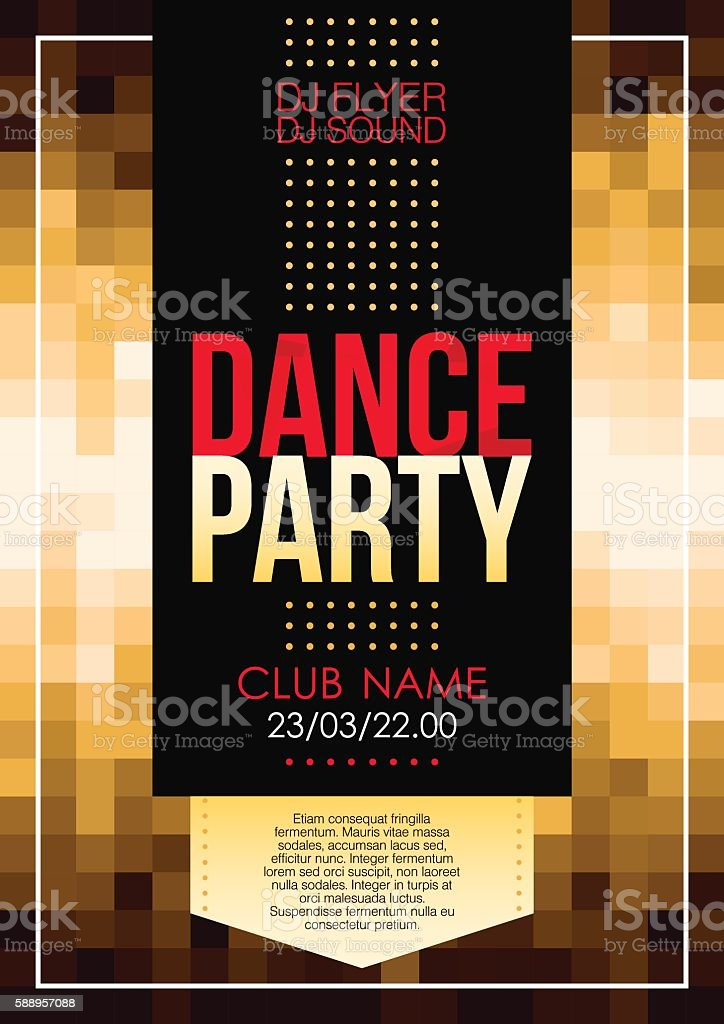 Vertical golden music party background with graphic elements and text. vector art illustration