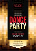 Vertical golden music party background with graphic elements and text.