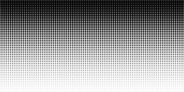 vertical gradient halftone dots background, horizontal template using halftone dots pattern. vector illustration - spotted stock illustrations