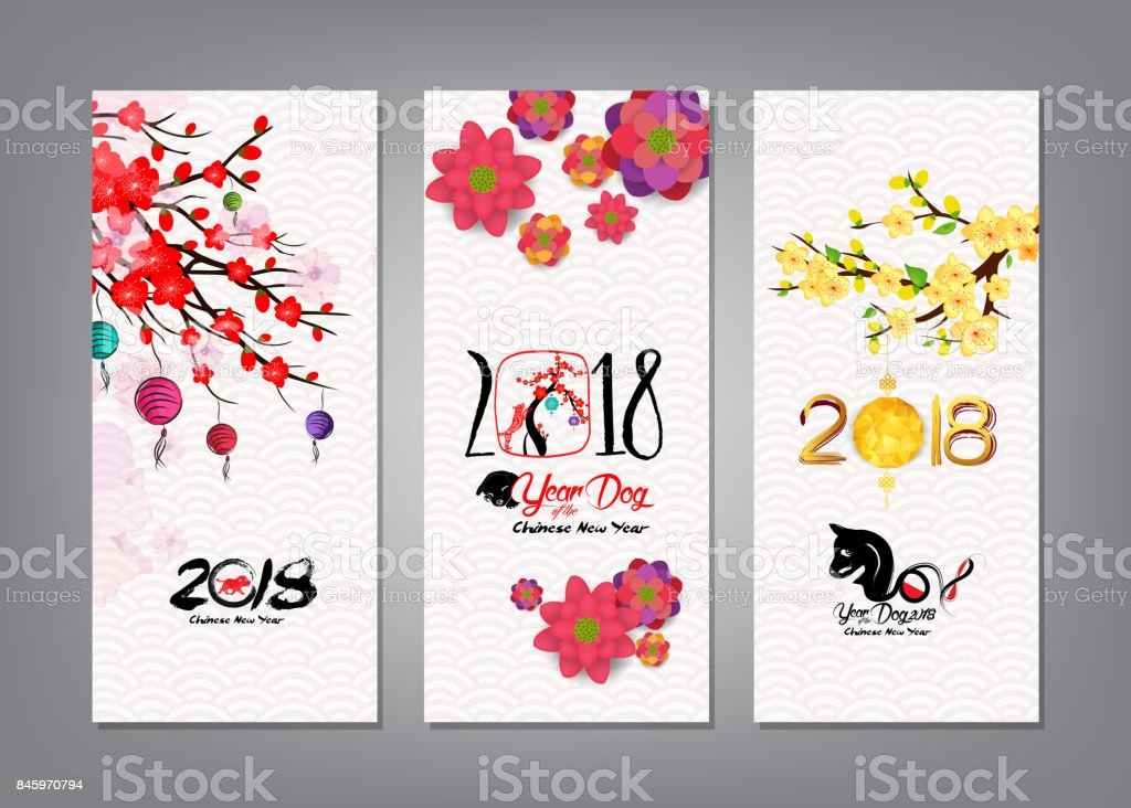 vertical hand drawn banners set with chinese new year 2018 hieroglyph dog royalty
