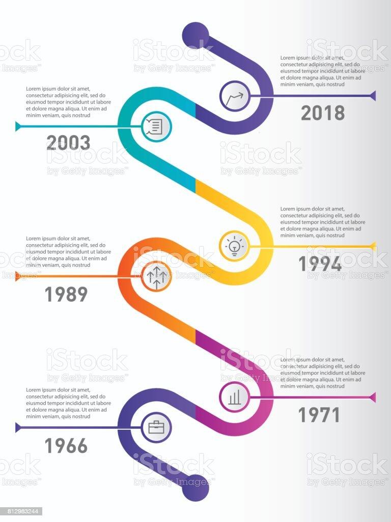Ilustración de Línea De Tiempo Vertical De Infografía Concepto De ...