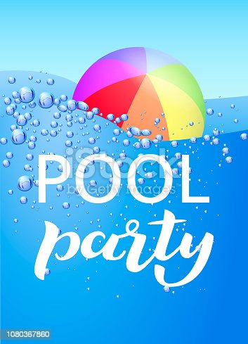 istock Vertical invitation on pool party lettering with water bubble. Vector illustration 1080367860