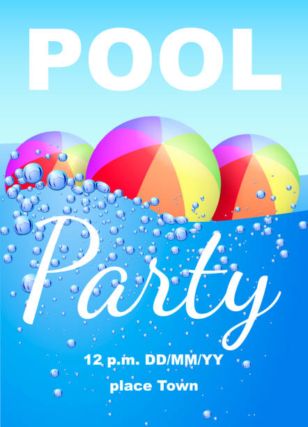 Vertical invitation on pool party with water and beach balls. Vector illustration Vertical invitation on pool party with water and beach balls. Vector illustration pool party stock illustrations