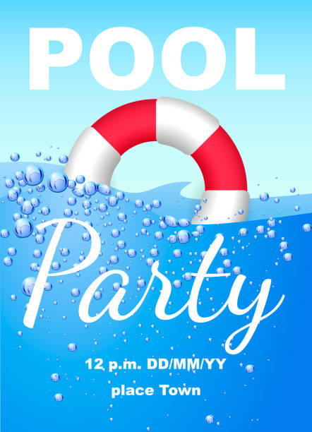 Vertical invitation on pool party with water and Lifebuoy. Vector illustration Vertical invitation on pool party with water and Lifebuoy. Vector illustration pool party stock illustrations