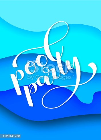 istock Vertical invitation on pool party with water paper layer effect. Vector illustration 1129141788
