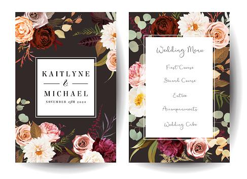 Vertical label dark frames of leaves and flowers